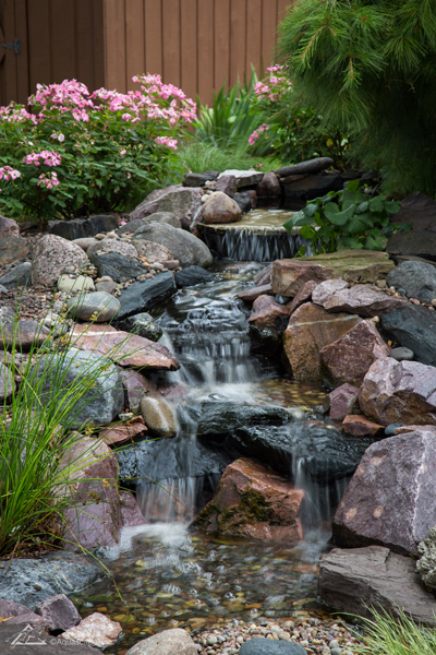 Pondless waterfall installation for yard sprinklers inc and Landscaping colorado springs pueblo